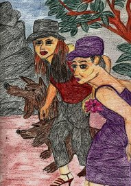 Little Red Riding Hood and friends out with the big bad wolf by Heather Blakey